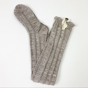 Free People Over The Knee High Socks OS NWT Taupe